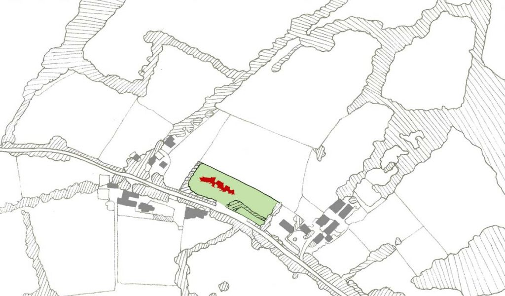 Proposed field pattern with settlement and proposed dwelling.